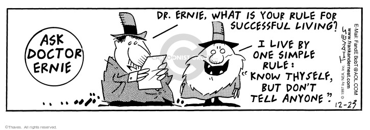 Comic Strip Bob Thaves Tom Thaves  Frank and Ernest 1997-12-23 lifestyle
