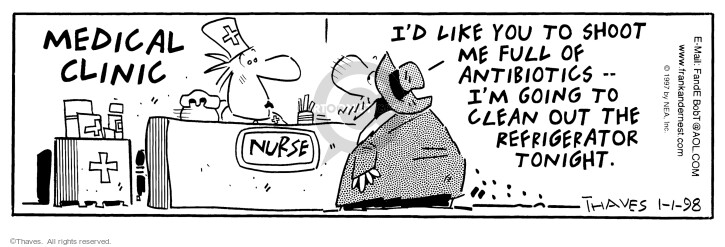 Comic Strip Bob Thaves Tom Thaves  Frank and Ernest 1998-01-01 antibiotic
