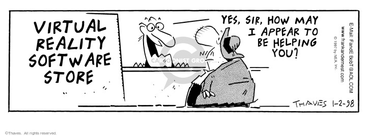Comic Strip Bob Thaves Tom Thaves  Frank and Ernest 1998-01-02 salesman