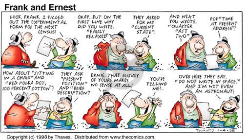 Comic Strip Bob Thaves Tom Thaves  Frank and Ernest 1998-01-04 fill