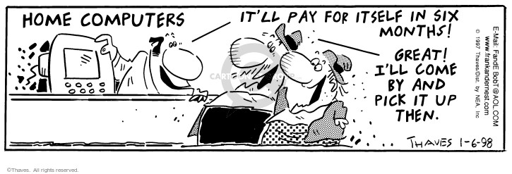 Comic Strip Bob Thaves Tom Thaves  Frank and Ernest 1998-01-06 customer