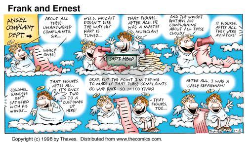 Comic Strip Bob Thaves Tom Thaves  Frank and Ernest 1998-01-18 criticism