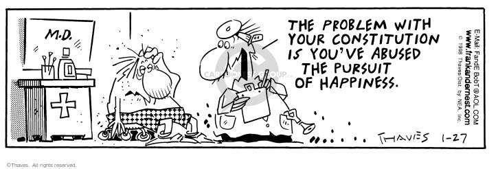 Comic Strip Bob Thaves Tom Thaves  Frank and Ernest 1998-01-27 medical
