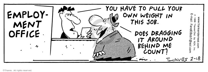 Comic Strip Bob Thaves Tom Thaves  Frank and Ernest 1998-02-18 job interview