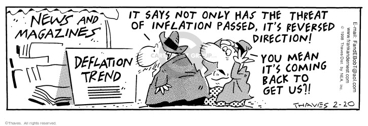 Comic Strip Bob Thaves Tom Thaves  Frank and Ernest 1998-02-20 inflation