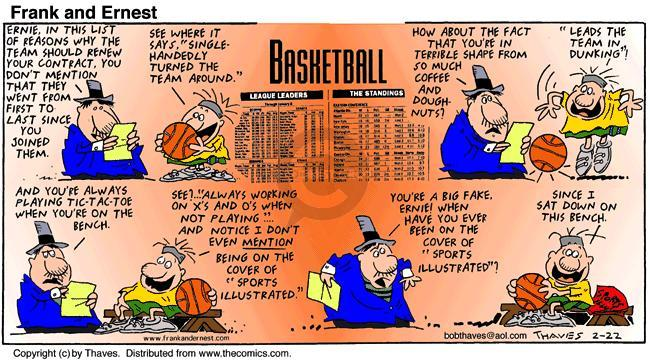Comic Strip Bob Thaves Tom Thaves  Frank and Ernest 1998-02-22 professional basketball