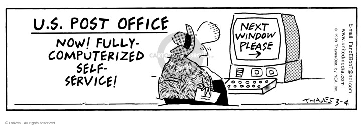 Comic Strip Bob Thaves Tom Thaves  Frank and Ernest 1998-03-04 office computer