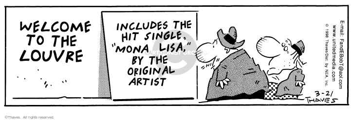 Comic Strip Bob Thaves Tom Thaves  Frank and Ernest 1998-03-21 Mona Lisa
