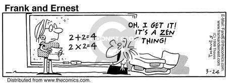 Cartoonist Bob Thaves Tom Thaves  Frank and Ernest 1998-03-24 meditation