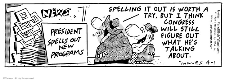 Comic Strip Bob Thaves Tom Thaves  Frank and Ernest 1998-04-01 letter