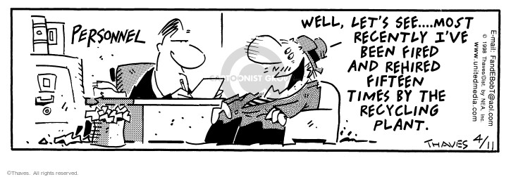 Comic Strip Bob Thaves Tom Thaves  Frank and Ernest 1998-04-11 job interview