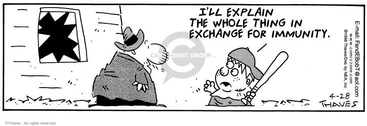 Cartoonist Bob Thaves Tom Thaves  Frank and Ernest 1998-04-28 guilt