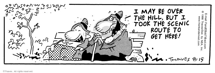 Comic Strip Bob Thaves Tom Thaves  Frank and Ernest 1998-08-15 over the hill