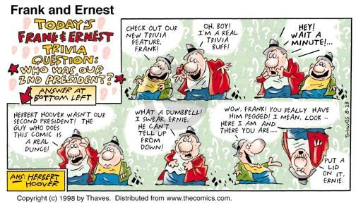Comic Strip Bob Thaves Tom Thaves  Frank and Ernest 1998-08-23 orientation