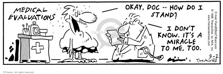 Cartoonist Bob Thaves Tom Thaves  Frank and Ernest 1998-09-02 medical