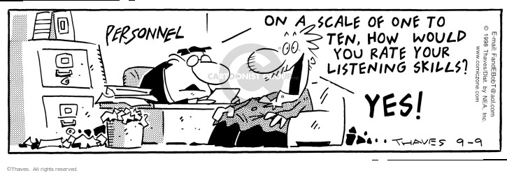 Comic Strip Bob Thaves Tom Thaves  Frank and Ernest 1998-09-09 hear