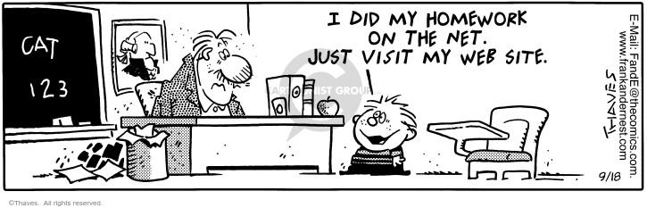 Comic Strip Bob Thaves Tom Thaves  Frank and Ernest 1998-09-18 homework