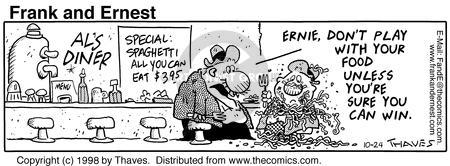 Comic Strip Bob Thaves Tom Thaves  Frank and Ernest 1998-10-24 spaghetti