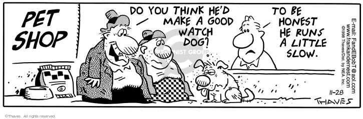 Cartoonist Bob Thaves Tom Thaves  Frank and Ernest 1998-11-28 good dog