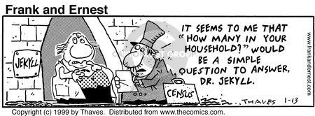 Comic Strip Bob Thaves Tom Thaves  Frank and Ernest 1999-01-13 Jekyll