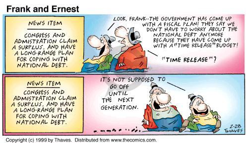 Comic Strip Bob Thaves Tom Thaves  Frank and Ernest 1999-02-28 deficit