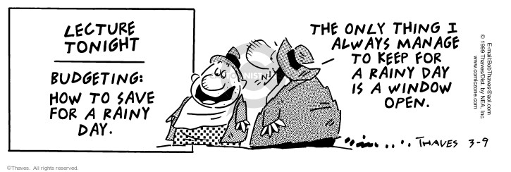 Comic Strip Bob Thaves Tom Thaves  Frank and Ernest 1999-03-09 personal day