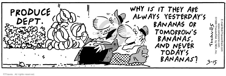 Comic Strip Bob Thaves Tom Thaves  Frank and Ernest 1999-03-15 food quality
