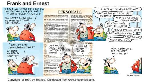 Comic Strip Bob Thaves Tom Thaves  Frank and Ernest 1999-04-11 personal life