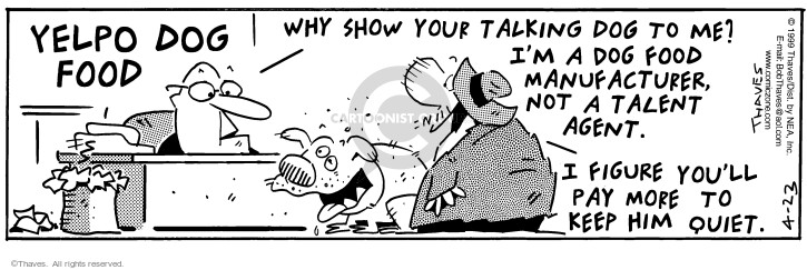 Comic Strip Bob Thaves Tom Thaves  Frank and Ernest 1999-04-23 agent