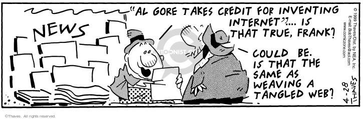 Comic Strip Bob Thaves Tom Thaves  Frank and Ernest 1999-04-28 politics