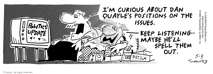 Comic Strip Bob Thaves Tom Thaves  Frank and Ernest 1999-05-03 letter