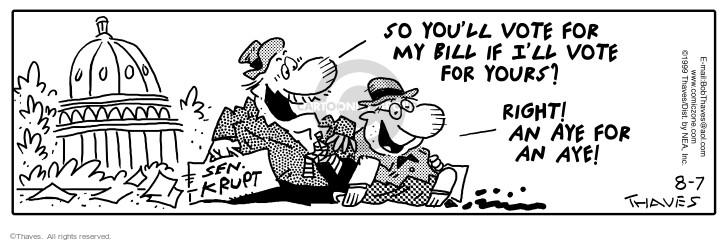 Comic Strip Bob Thaves Tom Thaves  Frank and Ernest 1999-08-07 senate