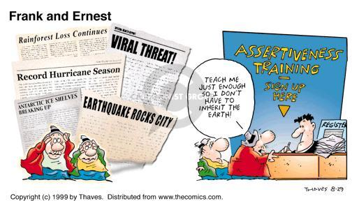 Comic Strip Bob Thaves Tom Thaves  Frank and Ernest 1999-08-29 sign