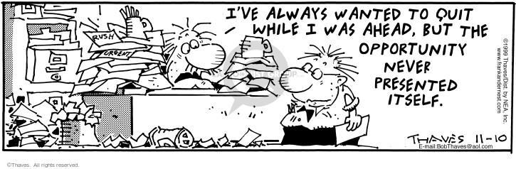 Comic Strip Bob Thaves Tom Thaves  Frank and Ernest 1999-11-10 desk