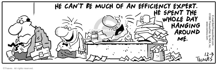 Comic Strip Bob Thaves Tom Thaves  Frank and Ernest 1999-12-03 desk
