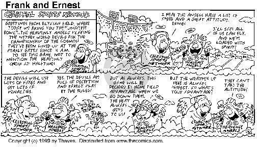 Cartoonist Bob Thaves Tom Thaves  Frank and Ernest 1999-12-26 playing