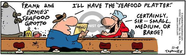 Comic Strip Bob Thaves Tom Thaves  Frank and Ernest 2010-01-09 lunch menu
