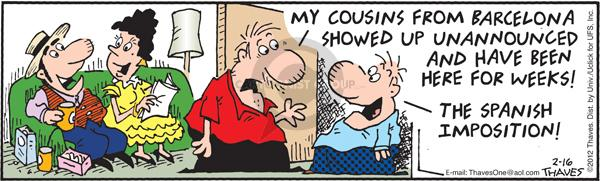 Comic Strip Bob Thaves Tom Thaves  Frank and Ernest 2012-01-16 visitor