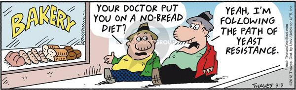 Comic Strip Bob Thaves Tom Thaves  Frank and Ernest 2012-03-03 bakery