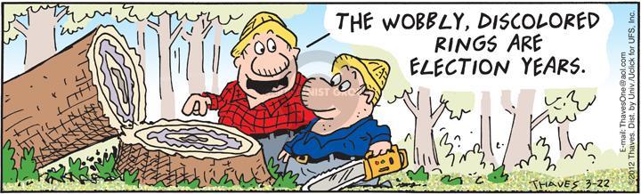 Cartoonist Bob Thaves Tom Thaves  Frank and Ernest 2012-03-22 logging