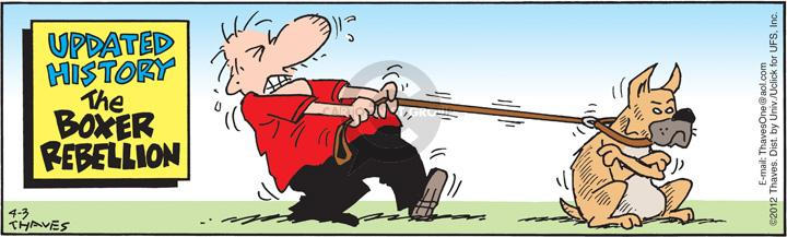 Comic Strip Bob Thaves Tom Thaves  Frank and Ernest 2012-04-03 leash