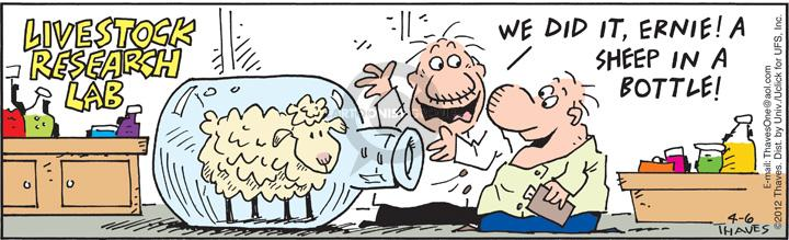 Comic Strip Bob Thaves Tom Thaves  Frank and Ernest 2012-04-06 sheep