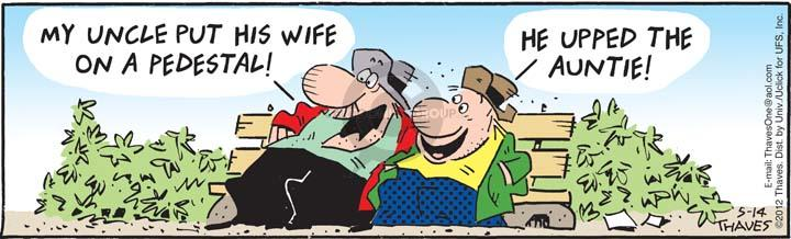Cartoonist Bob Thaves Tom Thaves  Frank and Ernest 2012-05-14 phrase