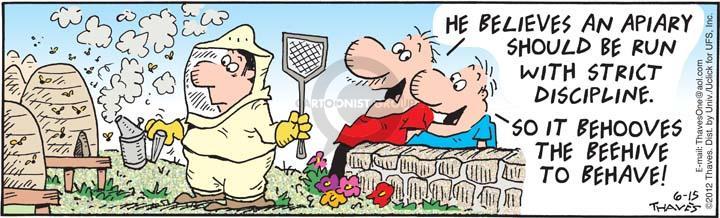 Comic Strip Bob Thaves Tom Thaves  Frank and Ernest 2012-06-15 discipline