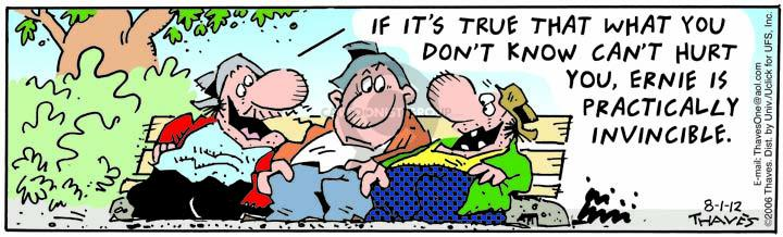 Comic Strip Bob Thaves Tom Thaves  Frank and Ernest 2012-08-01 bench