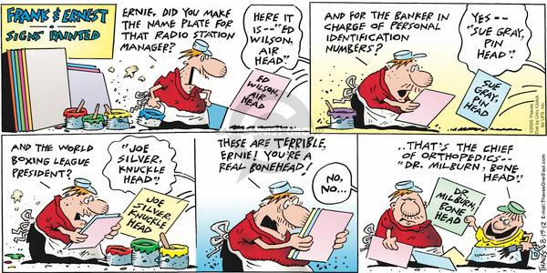 Comic Strip Bob Thaves Tom Thaves  Frank and Ernest 2012-08-19 banker