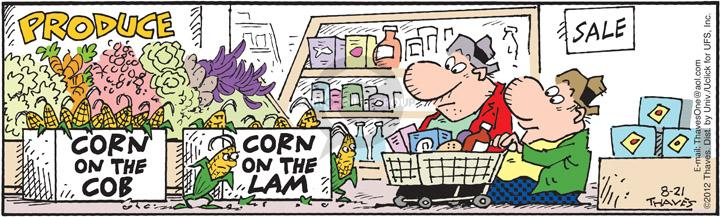 Comic Strip Bob Thaves Tom Thaves  Frank and Ernest 2012-08-21 grocery