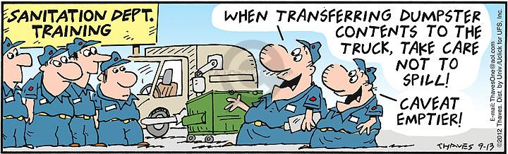 Comic Strip Bob Thaves Tom Thaves  Frank and Ernest 2012-09-13 container