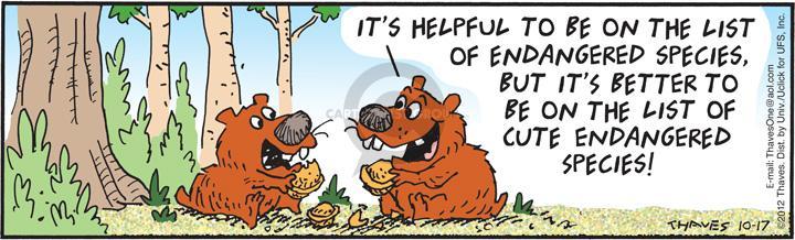 Cartoonist Bob Thaves Tom Thaves  Frank and Ernest 2012-10-17 endangered