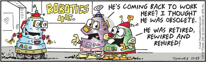 Comic Strip Bob Thaves Tom Thaves  Frank and Ernest 2012-10-23 obsolescence